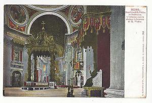 Italy Roma Rome St Peters Basilica Vatican Bronze Statue Interior UDB Postcard