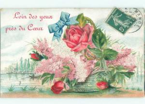 foreign c1910 Postcard ROSE AND OTHER FLOWERS IN GREEN WICKER BASKET AC3603