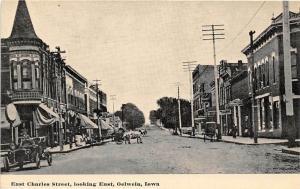 East Charles Street Oelwein Iowa 1910c postcard