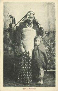 nepal, Nepalese Mother and Children, Nose Jewelry (1910s) Postcard (1)