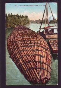P1631 1910 pm postcard logging log raft of 8,000,000 feet of timber