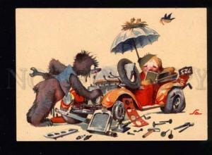 047259 Funny TEDDY BEAR in Vintage CAR old COMIC