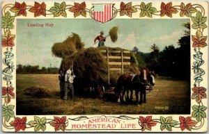 1908 Farming Agriculture Postcard AMERICAN HOMESTEAD LIFE Loading Hay MA Cancel