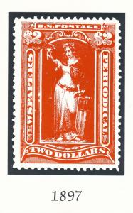 Postcard of 1897 Two Dollar Newspaper Stamp