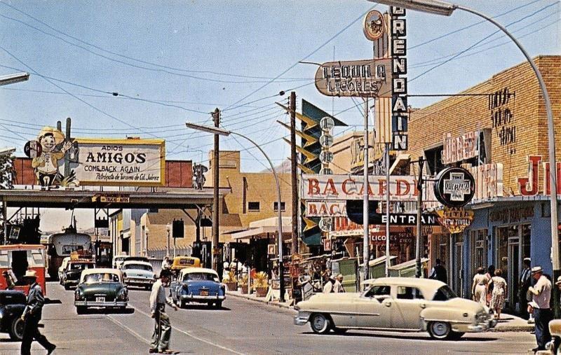 Ciudad Juarez Mexico~Adios Amigos Street Sign~Bacardi~NICE 1950s Cars