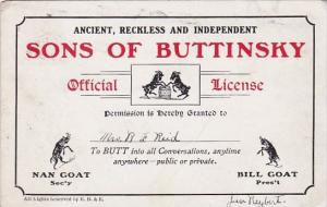 Humour Sons Of Buttinsky Official License 1906