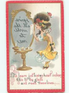 Pre-Linen Risque signed DWIG - SEXY GIRL WITH REVERSE MESSAGE IN MIRROR AB6089
