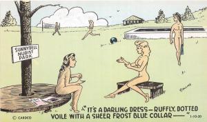 C45/ Nude Comic Nudist Colony Collins Signed  Postcard c1950s  Dress Darling 4