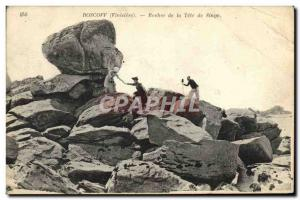 Old Postcard Roscoff Rock of Tete Monkey