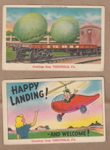 Greetings From Vernfield Pennsylvania Humor Comic Post Cards