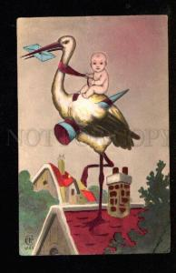 047977 Baby on STORK vintage Tinted PC