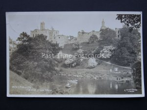 Northumberland WARKWORTH CASTLE from West c1920's RP Postcard by Johnston & Sons