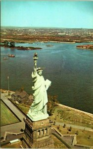 1950s Statue of Liberty Aerial View Liberty Island Harbor NYC Postcard