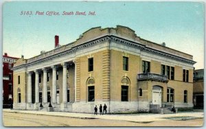 South Bend, Indiana Postcard Post Office Building / Street View c1910s