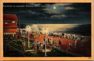 Vtg 1940s Boardwalk by Moonlight Night View Rehoboth Beach Delaware DE Postcard