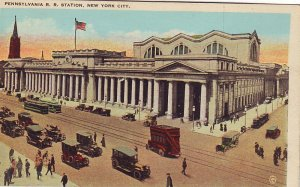 P1281 old pc unused cars trollies people pennsylvania railroad station new york
