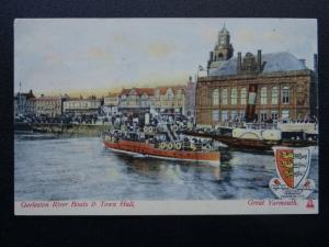 Norfolk GREAT YARMOUTH Gorleston River Steamer Boats - Old Postcard by Woolstone