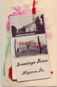 embossed GREETINGS FROM ALGONA, IA ten view fold-out