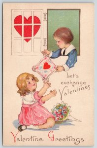 MEP Valentine~Boy in Blue~Girl Under Window~Lacy Heart Card Exchange~1403 C