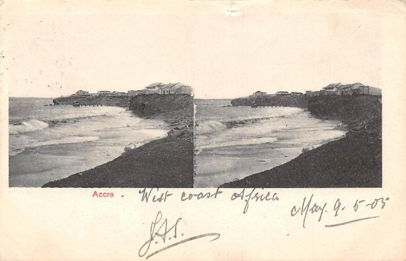 Ghana Gold Coast Accra stereo view 1905 postcard