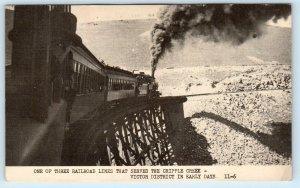 CRIPPLE CREEK, CO Colorado STEAM Passenger RAILROAD TRAIN c1950s   Postcard