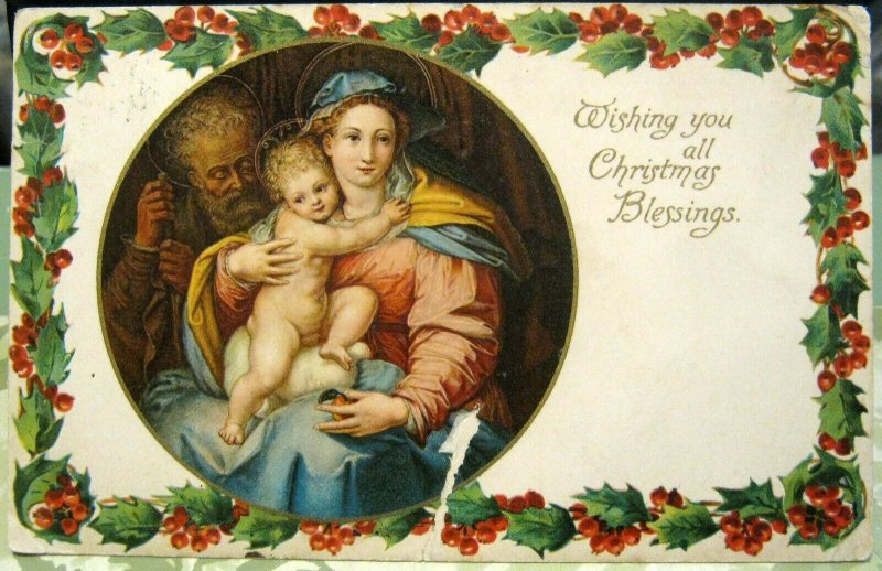 Postcard Holidays Wishing you all Christmas Blessings - posted 1905