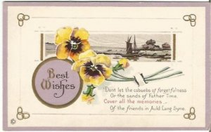 Yellow Pansy Flowers Sailboat Scene Best Wishes Father Time Vintage Postcard