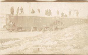 F82/ Occupational RPPC Postcard c1910 Erie Railroad Cars Workers 11