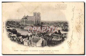 Old Postcard Reims General view The Cathedral The Palace of Justice The Theater