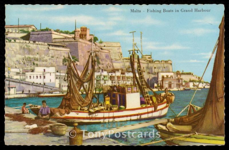 Malta - Fishing Boats in Grand Harbour