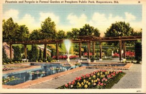 Maryland Hagerstown Pangborn Public Park Fountain and Pergola In Formal Garden