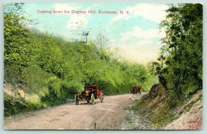 Rochester New York~Vintage Cars Coming Down Dugway Hill~1913 Postcard