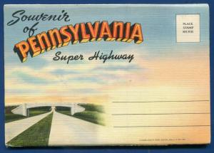 Pennsylvania pa Super Highway 1940s souvenir old postcard folder foldout