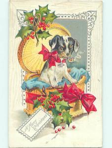 Pre-Linen christmas CUTE PUPPY DOG SMOKES A TOBACCO PIPE HQ7058