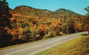 Blue Ridge Pkwy. & Grandfather Mountain, NC, Autumn, Vintage Postcard g9995