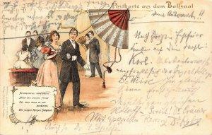 Germany Postkarte aus dem Ballsaal Ballroom fan litho 1899 Postcard