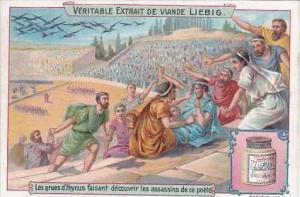 Liebig Vintage Trade Card S757 Animals History II No 4 Roman Poets Birds