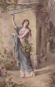 Bonne Annee, Woman in pink gown writes in the air, 00-10s