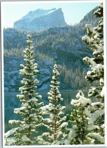 postcard CO Rocky Mountain National Park Bear Lake winter landscape Hallett Peak