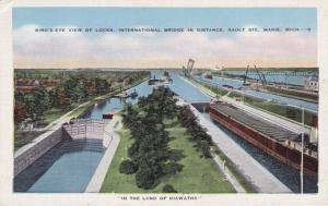 The Locks at Sault Ste Marie MI, Michigan - In the Land of Hiawatha - Linen