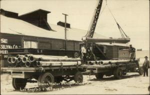 Los Angeles & Wilmington CA Union Motor Transport Co Trucks Pipes 1924 RPPC
