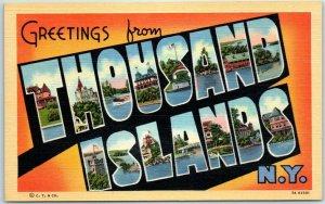 1940s THOUSAND ISLANDS New York Large Letter Postcard Curteich Linen 7A-H2501