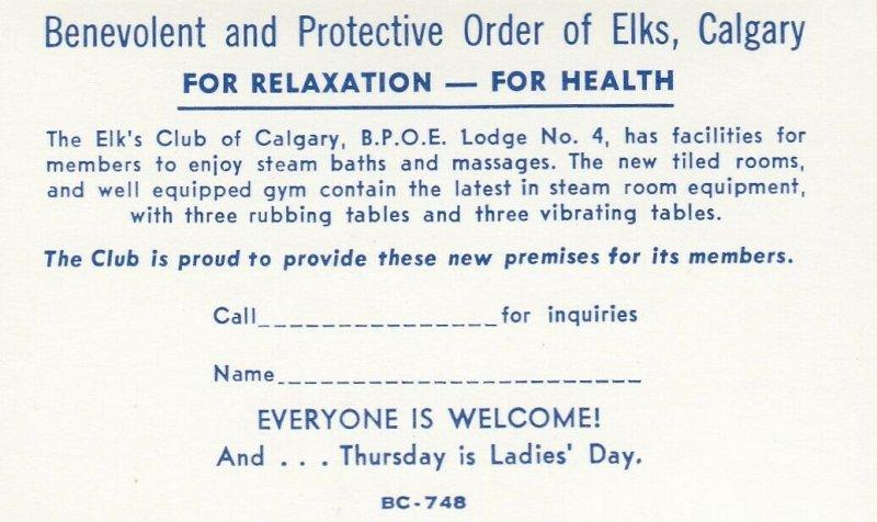 [BC] CALGARY, Alberta, Canada, 1950-60s ; Elk's Club , interior