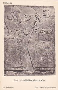Palace of Assur wall panel , Iraq , 00-10s : Ashur-nasir holding a Bowl of Wine