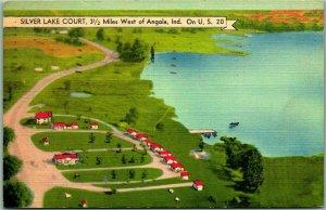 1948 Angola, Indiana Postcard SILVER LAKE COURT Air View Cabins Roadside Linen