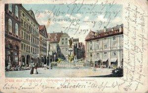 Germany Gruss us Augsburg Ludwigsplatz und Augustusbrunnen 03.27