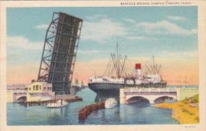 Texas Corpus Christi Cargo Ship Going Under Bascule Bridge 1945 Curteich