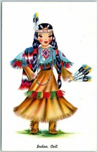 Vintage INDIAN DOLL Postcard Toy Costume Dress Tichnor Chrome c1960s Unused