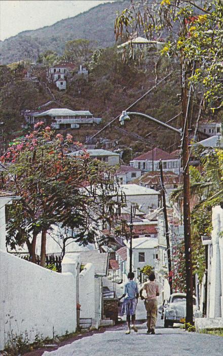 ST. THOMAS, U.S. Virgin Islands, Hilly Street,  40-60s