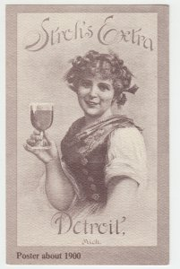 P1993, vintage postcard advertising stohs beer poster about 1900 detroit mich.